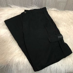 Wrangler Black Cotton Cargo Pants with Pockets